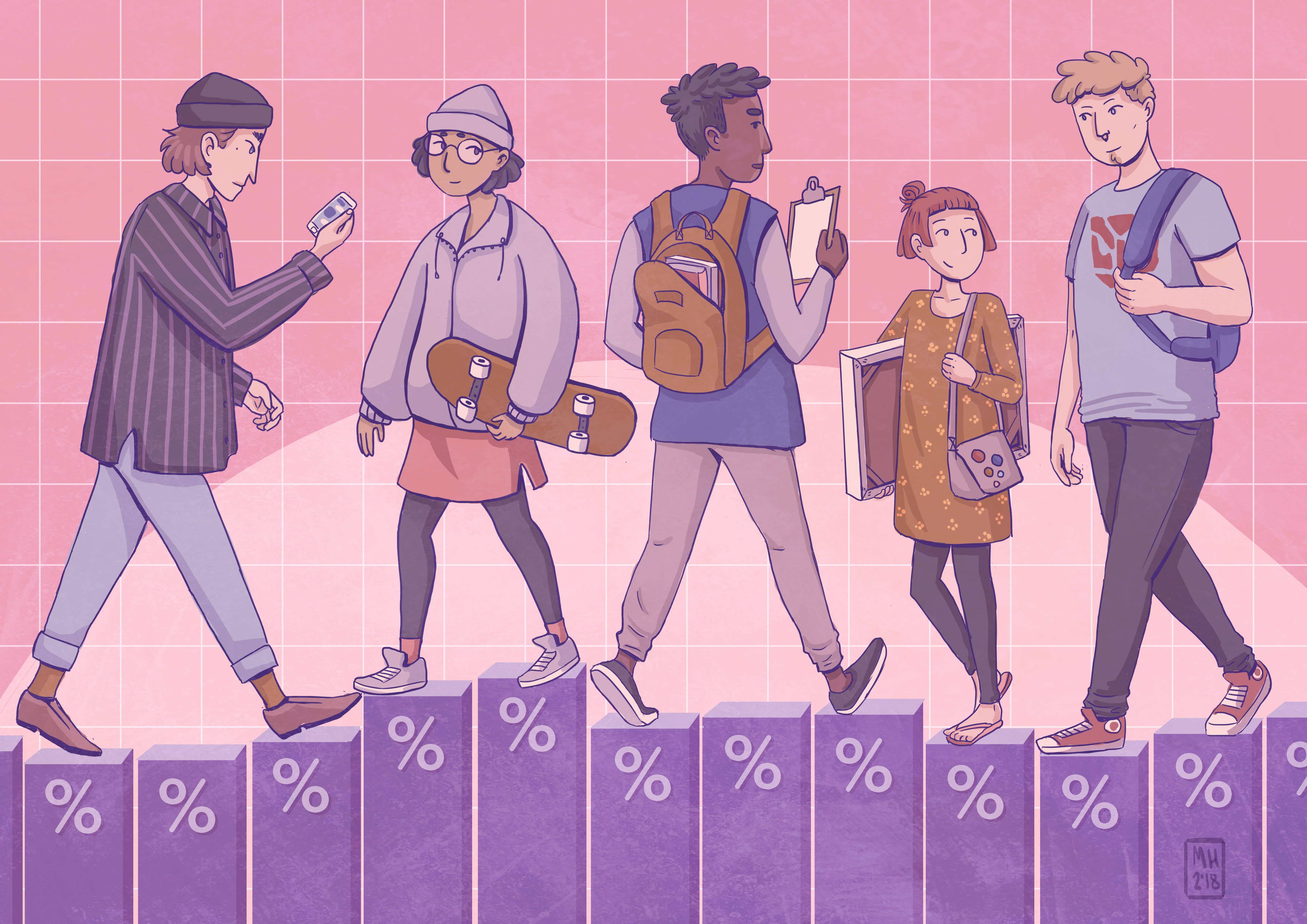 Young people walking at bar charts, drawing.